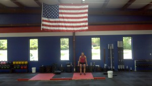 Jenny getting her CrossFit Total under our new flag!